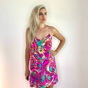 Lilly Pulitzer Shift Dress Floral Bright Neon Pink